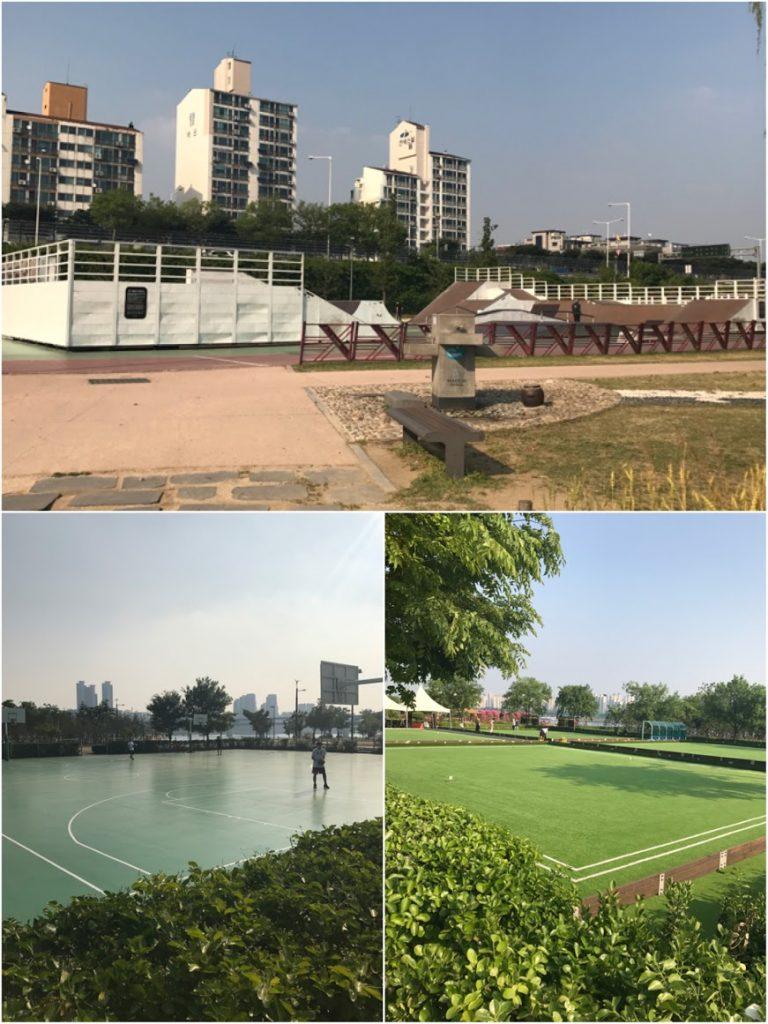 首爾自由行-韓國自由行-韓國旅遊-首爾景點-韓國機票-纛島漢江公園還可以進行不同的運動如XGame草地滾球籃球等