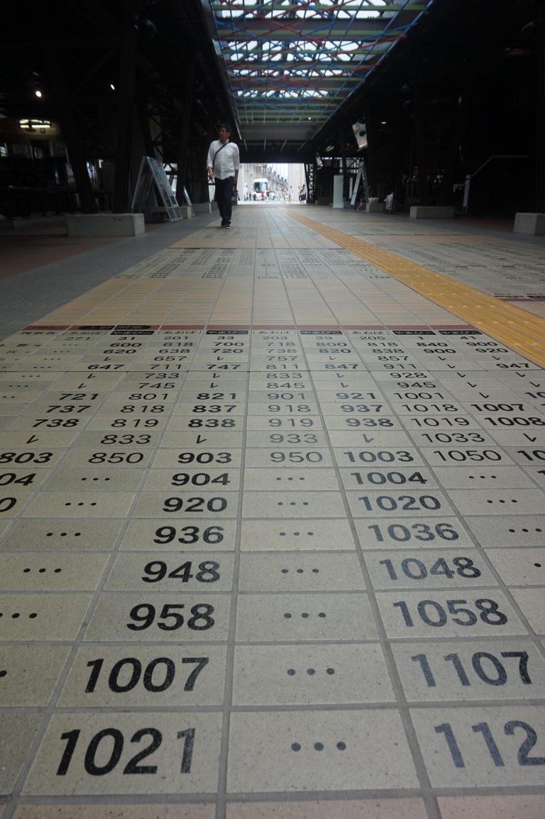 東京自由行-東京好去處-東京景點-一出站已經見到地下貼咗鐵路時刻表既簡約又別出心裁