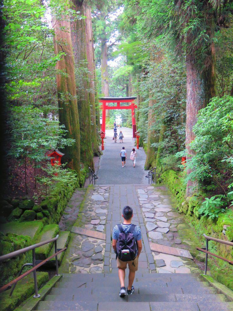 東京自由行-東京必去-東京景點-東京旅遊-鳥居一路伸延至蘆之湖邊,引領著神回家