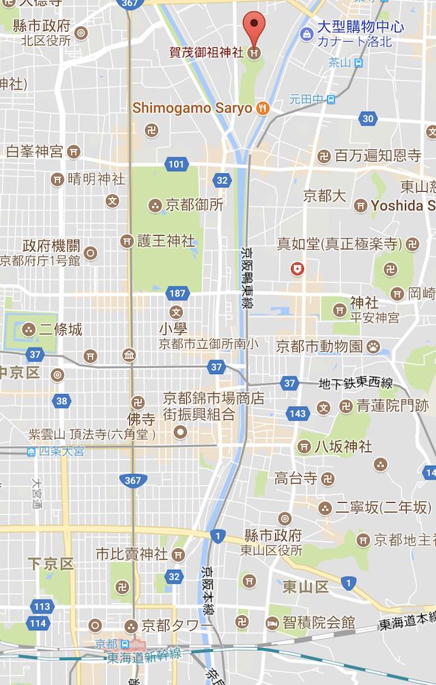 京都自由行-京都景點-GoogleMap截圖