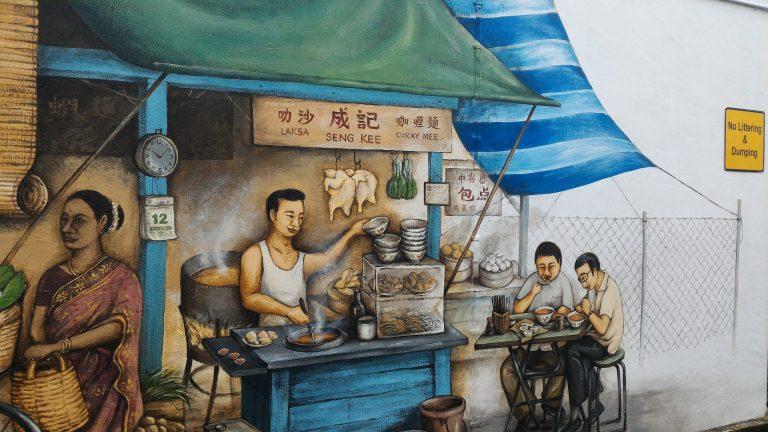 新加坡自由行-新加坡旅遊-新加坡景點-中峇魯區的壁畫,好多食店前身都係車仔檔