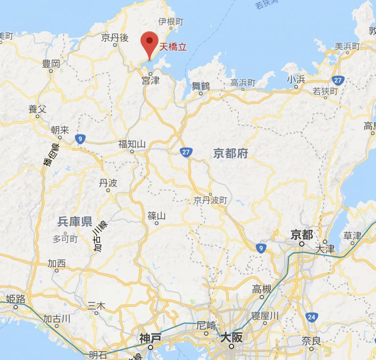 京都自由行-京都景點-京都景點天橋立所在地(Google Map 截圖)