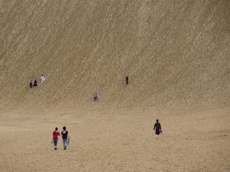 鳥取自由行-放眼張望,看到一點點慢慢地向上移,登上海旁較高的砂丘