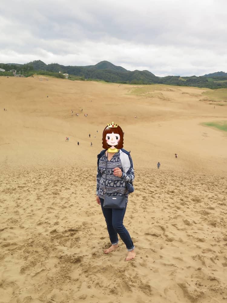 鳥取自由行-赤腳感受幼細的沙,連阿媽都話好玩