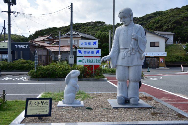鳥取自由行-傳說中大國主與白兔相遇的雕像