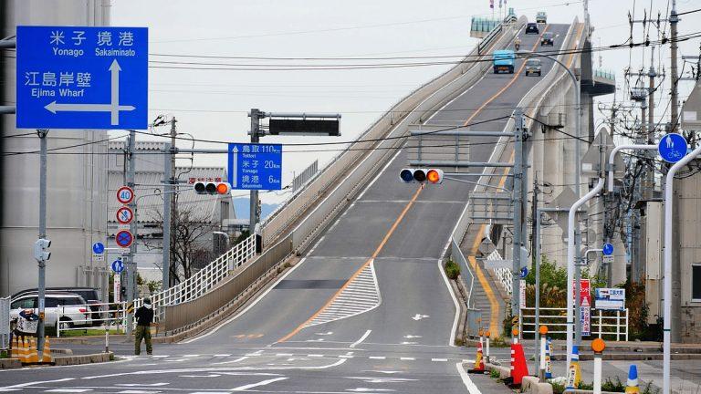 鳥取自由行-非常陡峭的江島大橋 (網上圖片)
