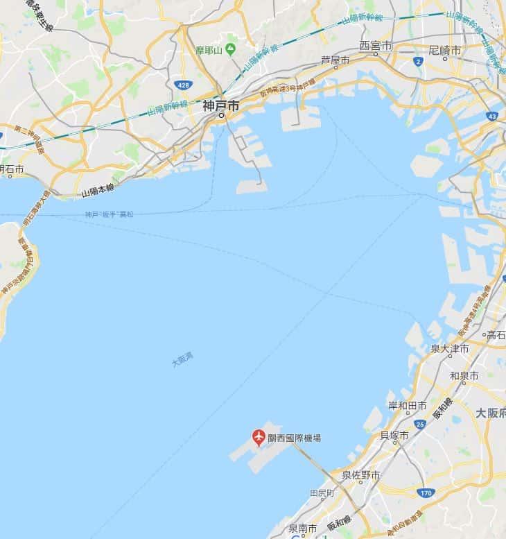 神戶景點-京阪神-淡路-有馬-睇地圖其實KIX和神戶的距離並不遠