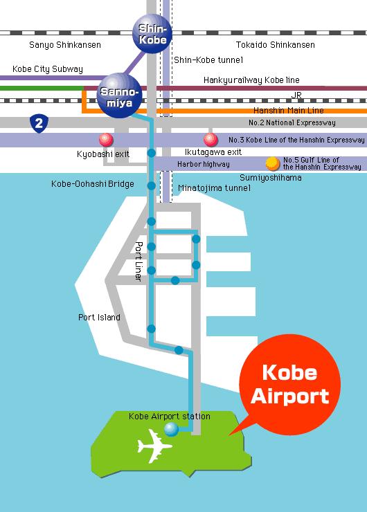 神戶景點-京阪神-淡路-有馬-於神戶機場站可選擇轉乘Port Liner station到神戶市中心,非常方便 (網上圖片)